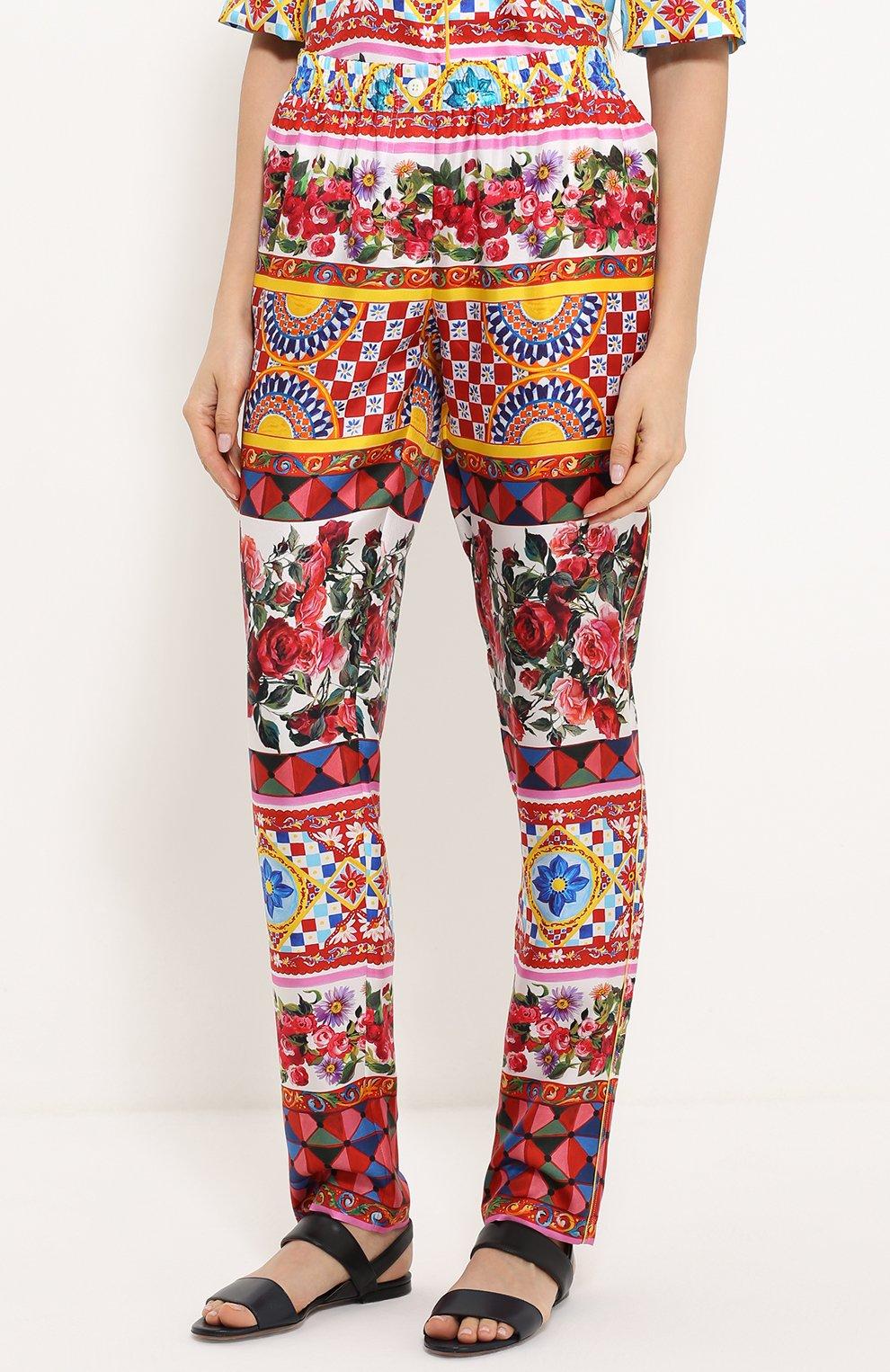 Шелковые брюки-бананы с ярким принтом Dolce & Gabbana разноцветные   Фото №3