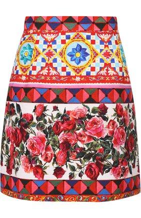 Хлопковая мини-юбка с ярким принтом Dolce & Gabbana разноцветная | Фото №1