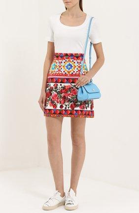 Хлопковая мини-юбка с ярким принтом Dolce & Gabbana разноцветная | Фото №2