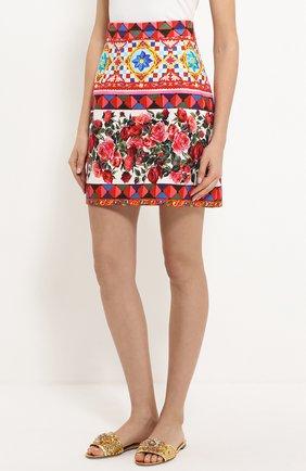 Хлопковая мини-юбка с ярким принтом Dolce & Gabbana разноцветная | Фото №3