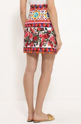 Хлопковая мини-юбка с ярким принтом Dolce & Gabbana разноцветная | Фото №4