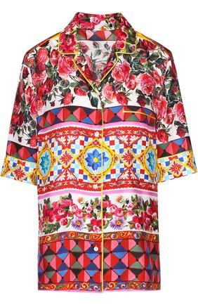 Шелковая блуза в пижамном стиле с ярким принтом Dolce & Gabbana разноцветная | Фото №1
