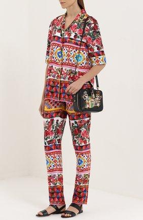 Шелковая блуза в пижамном стиле с ярким принтом Dolce & Gabbana разноцветная | Фото №2