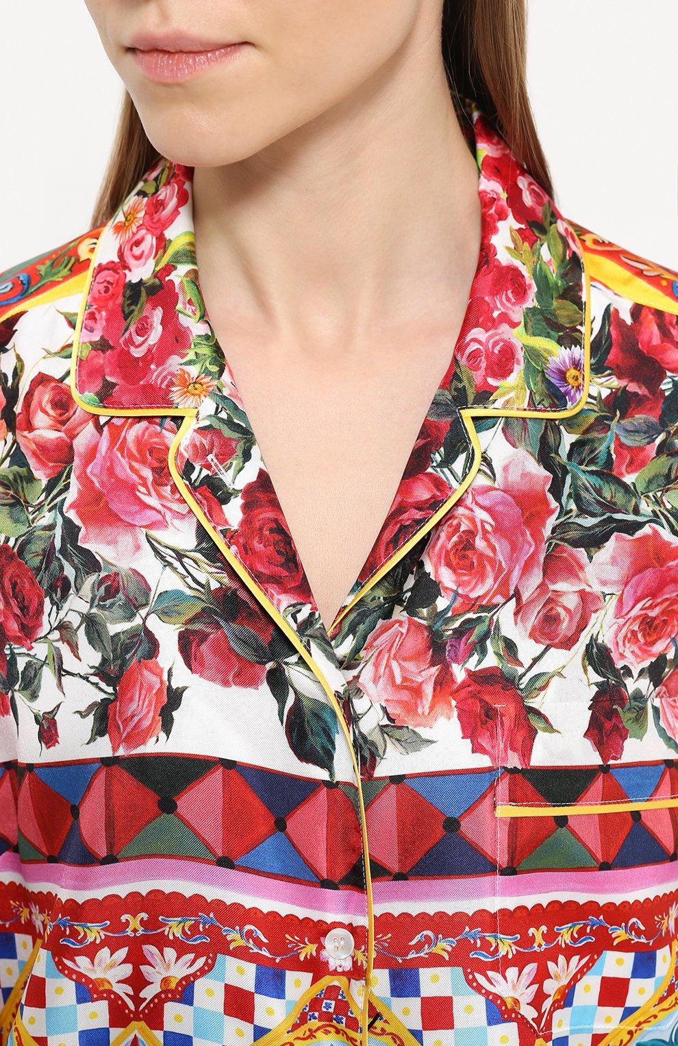 Шелковая блуза в пижамном стиле с ярким принтом Dolce & Gabbana разноцветная | Фото №5