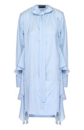 Шелковое мини-платье в полоску с оборками | Фото №1