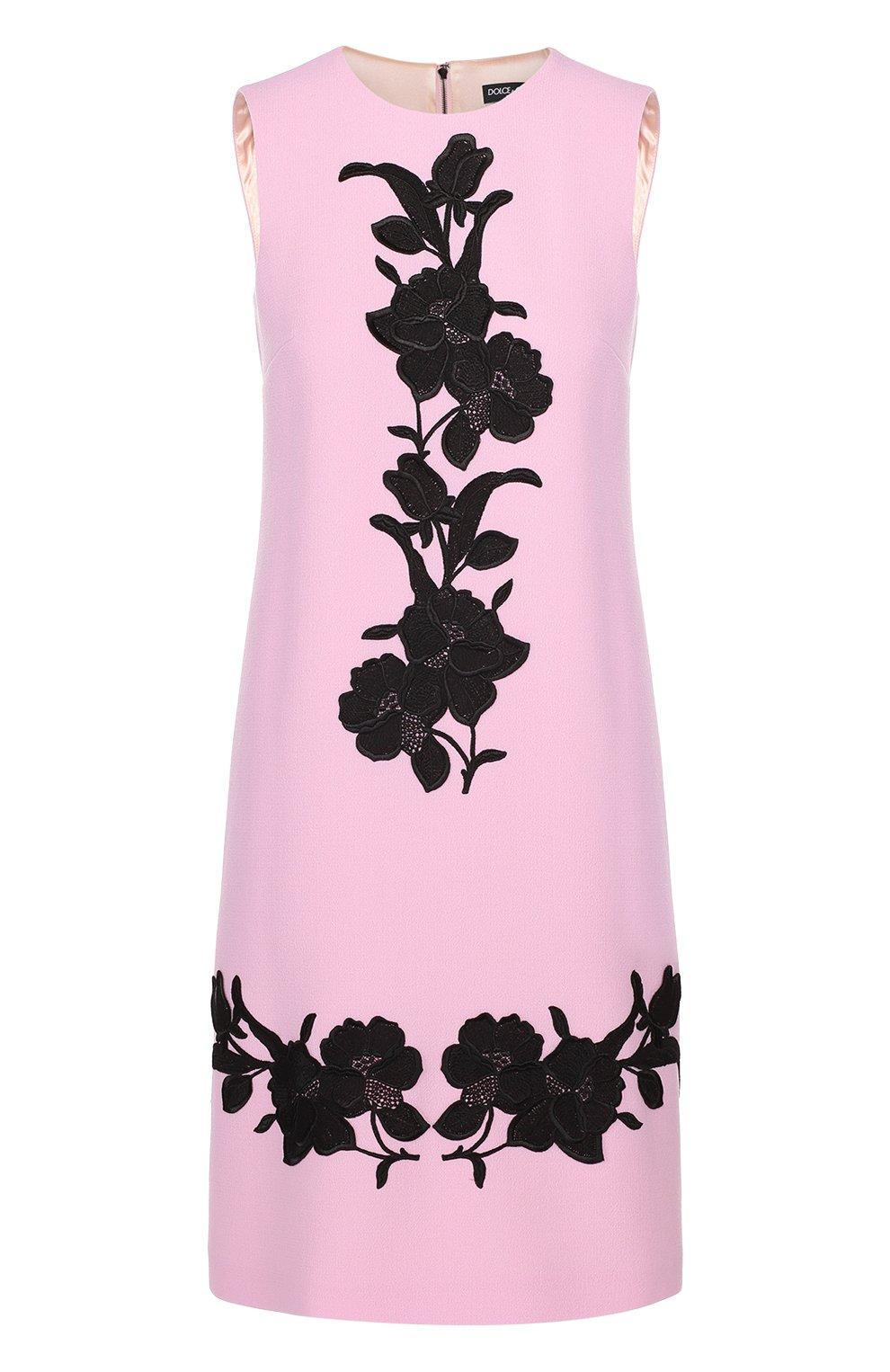 Платье без рукавов с контрастной цветочной отделкой | Фото №1