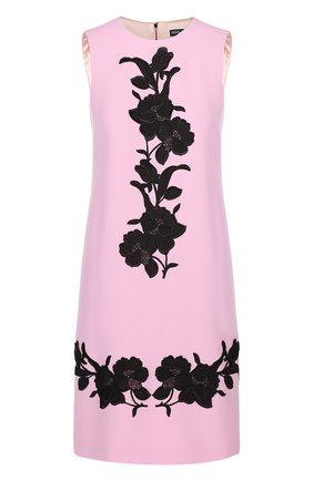 Платье без рукавов с контрастной цветочной отделкой Dolce & Gabbana светло-розовое | Фото №1