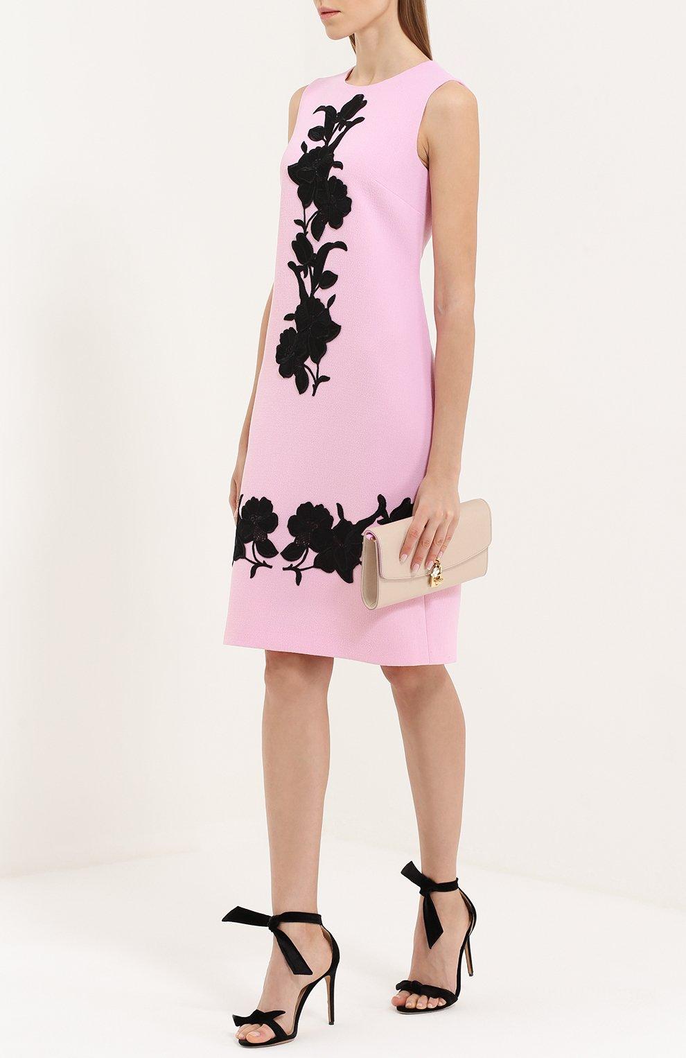Платье без рукавов с контрастной цветочной отделкой Dolce & Gabbana светло-розовое | Фото №2