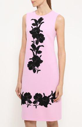 Платье без рукавов с контрастной цветочной отделкой Dolce & Gabbana светло-розовое | Фото №3