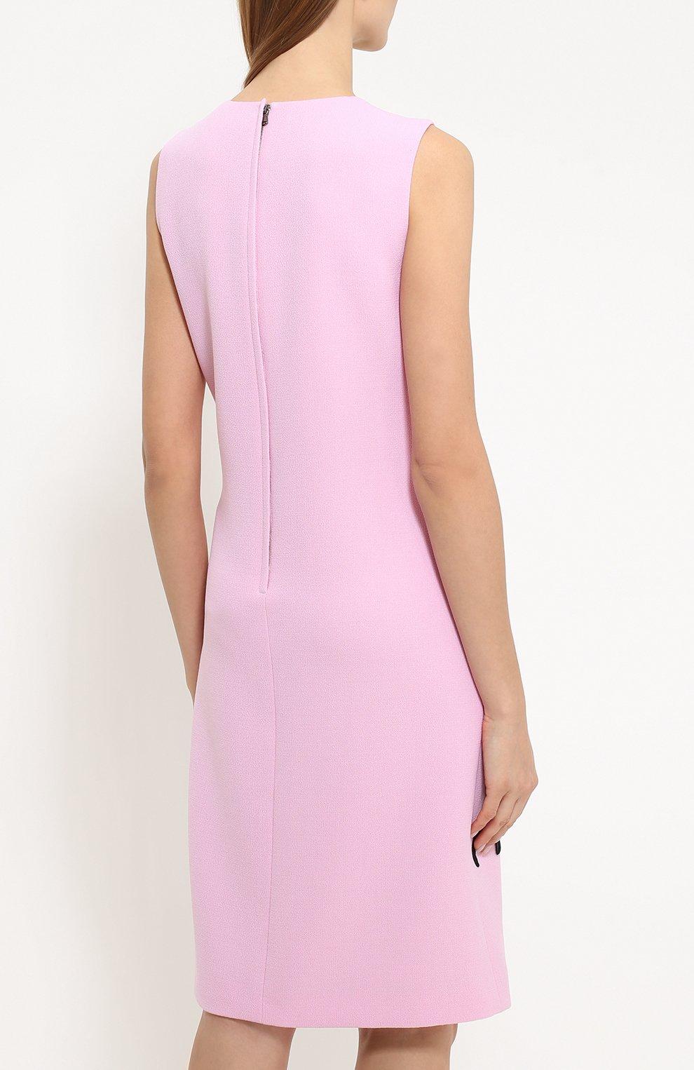 Платье без рукавов с контрастной цветочной отделкой Dolce & Gabbana светло-розовое | Фото №4