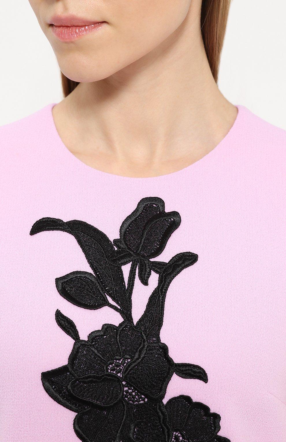 Платье без рукавов с контрастной цветочной отделкой Dolce & Gabbana светло-розовое | Фото №5