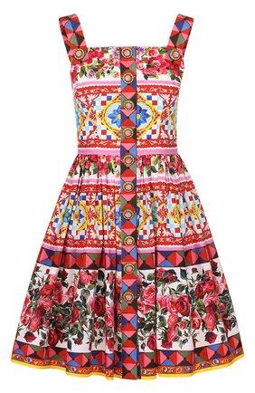 Мини-сарафан с пышной юбкой и ярким принтом Dolce & Gabbana разноцветное | Фото №1