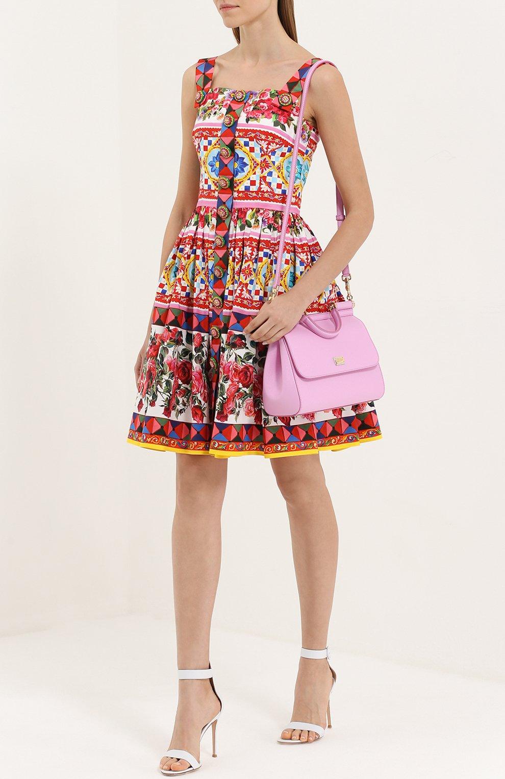 Мини-сарафан с пышной юбкой и ярким принтом Dolce & Gabbana разноцветное | Фото №2