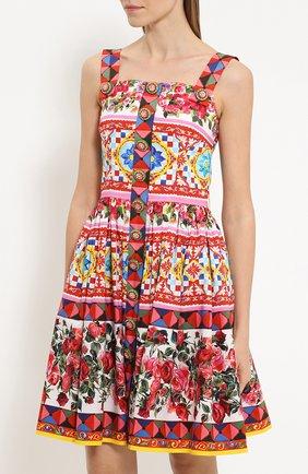 Мини-сарафан с пышной юбкой и ярким принтом Dolce & Gabbana разноцветное | Фото №3