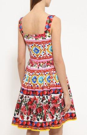 Мини-сарафан с пышной юбкой и ярким принтом Dolce & Gabbana разноцветное | Фото №4