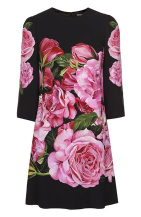 Мини-платье с укороченным рукавом и цветочным принтом Dolce & Gabbana розовое   Фото №1