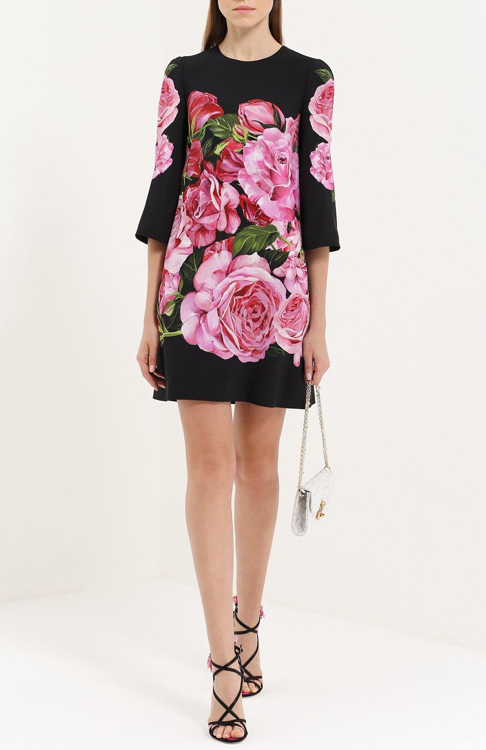 Мини-платье с укороченным рукавом и цветочным принтом Dolce & Gabbana розовое   Фото №2