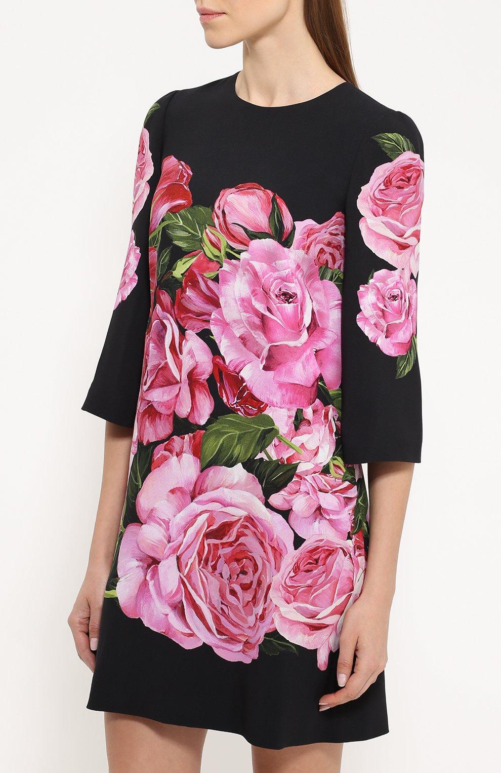 Мини-платье с укороченным рукавом и цветочным принтом Dolce & Gabbana розовое   Фото №3