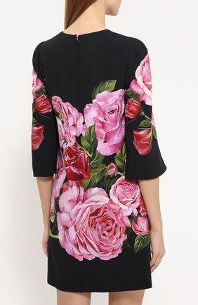 Мини-платье с укороченным рукавом и цветочным принтом Dolce & Gabbana розовое   Фото №4