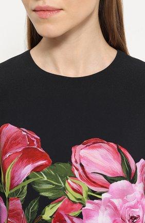 Мини-платье с укороченным рукавом и цветочным принтом Dolce & Gabbana розовое   Фото №5