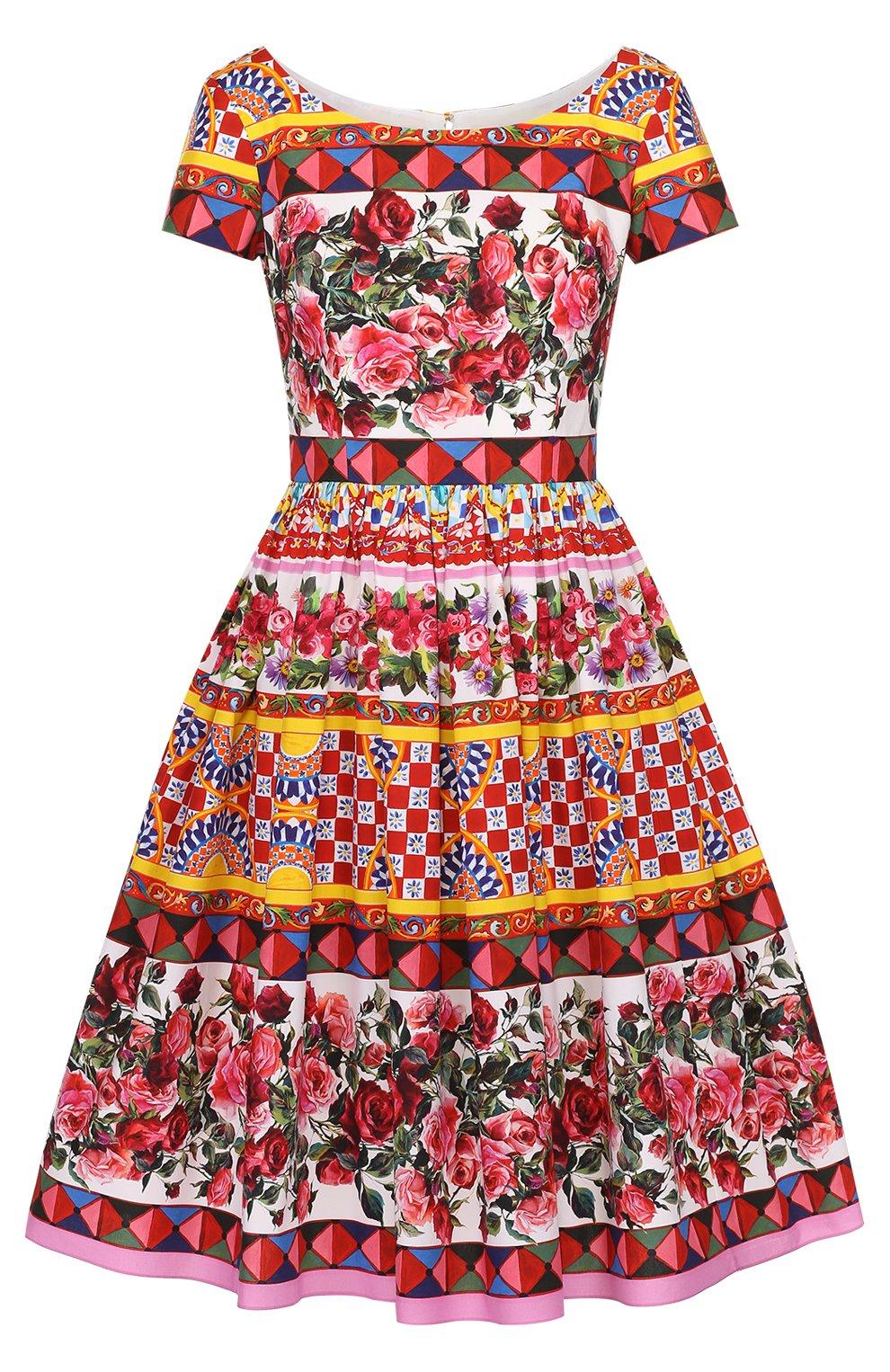 Приталенное платье с пышной юбкой и ярким принтом | Фото №1