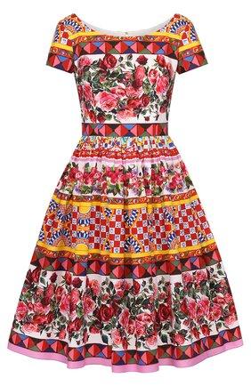 Приталенное платье с пышной юбкой и ярким принтом Dolce & Gabbana разноцветное | Фото №1