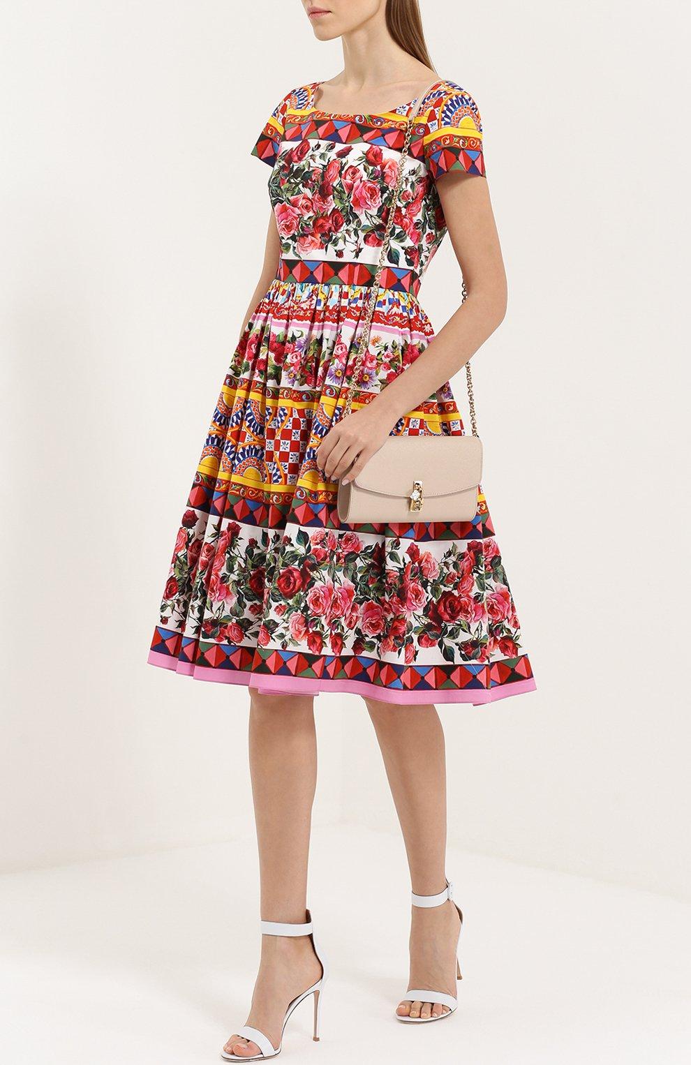 Приталенное платье с пышной юбкой и ярким принтом Dolce & Gabbana разноцветное | Фото №2