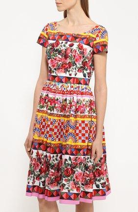 Приталенное платье с пышной юбкой и ярким принтом Dolce & Gabbana разноцветное | Фото №3