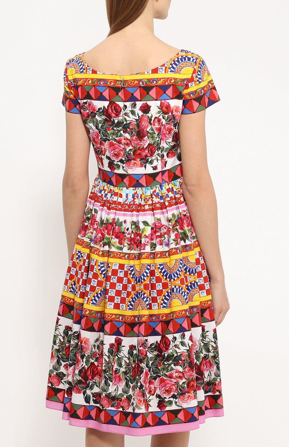 Приталенное платье с пышной юбкой и ярким принтом Dolce & Gabbana разноцветное | Фото №4