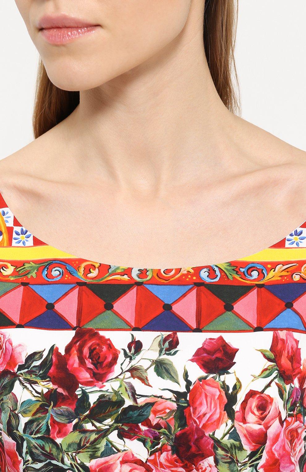 Приталенное платье с пышной юбкой и ярким принтом Dolce & Gabbana разноцветное | Фото №5