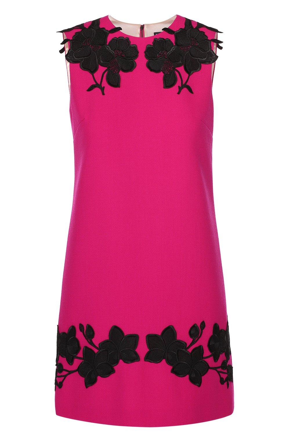 Мини-платье прямого кроя с контрастной цветочной отделкой | Фото №1