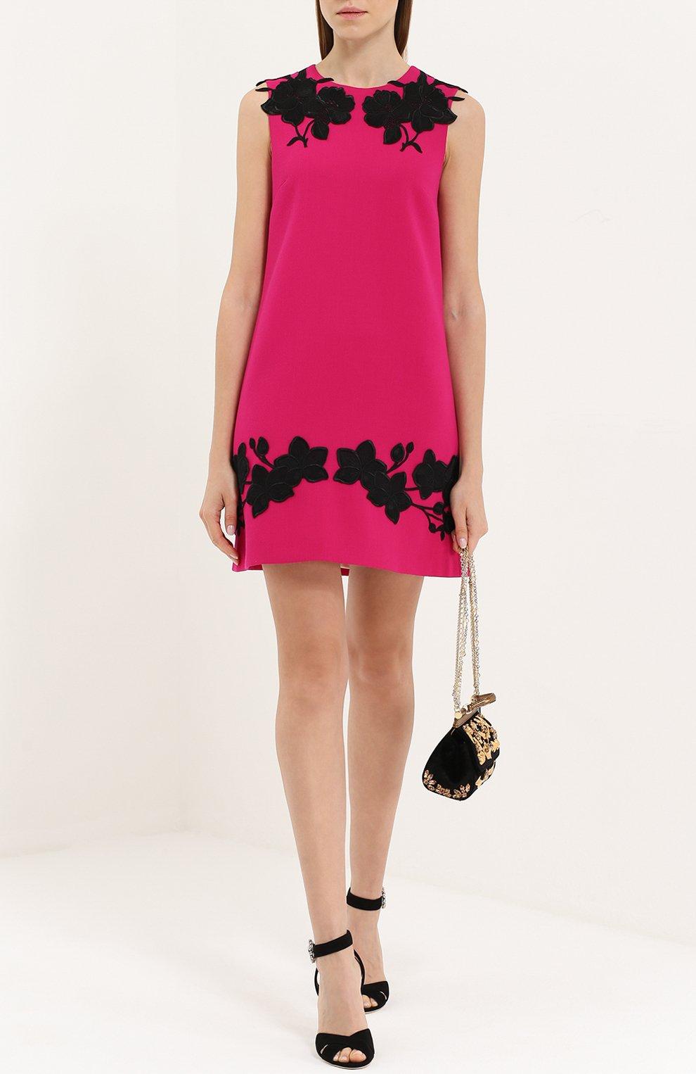 Мини-платье прямого кроя с контрастной цветочной отделкой Dolce & Gabbana фуксия | Фото №2