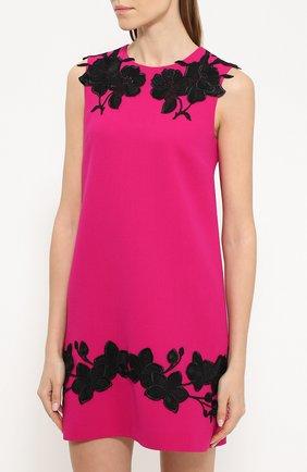 Мини-платье прямого кроя с контрастной цветочной отделкой Dolce & Gabbana фуксия | Фото №3