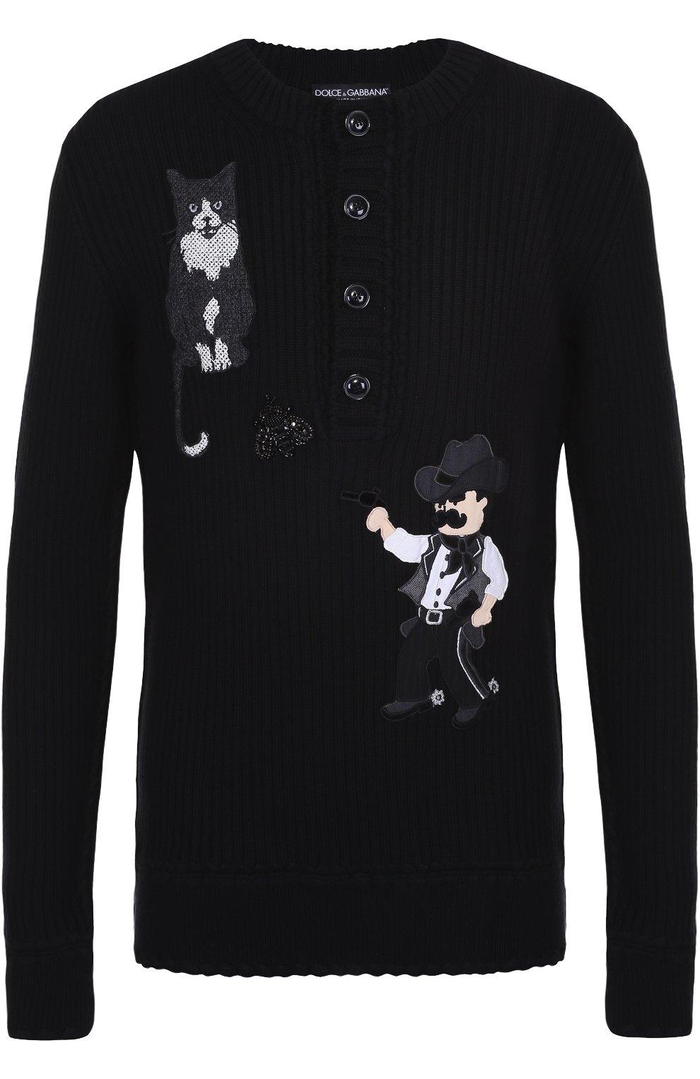 Шерстяной свитер фактурной вязки с аппликациями | Фото №1