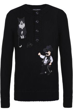 Шерстяной свитер фактурной вязки с аппликациями Dolce & Gabbana черный | Фото №1