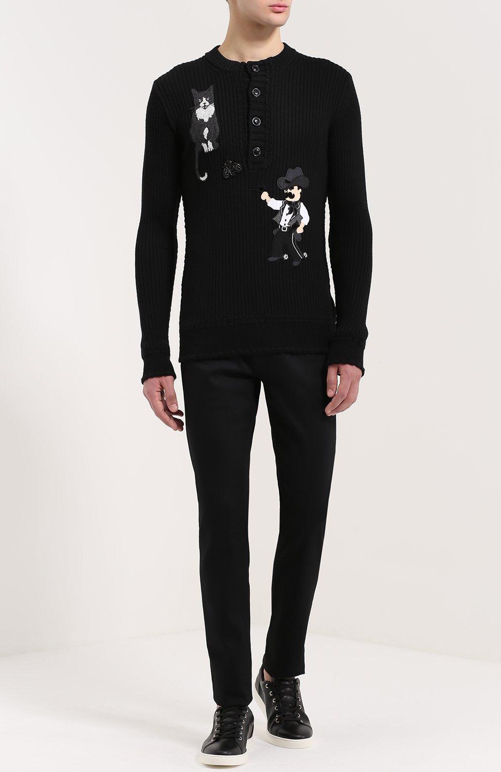 Шерстяной свитер фактурной вязки с аппликациями Dolce & Gabbana черный | Фото №2