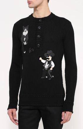 Шерстяной свитер фактурной вязки с аппликациями Dolce & Gabbana черный | Фото №3
