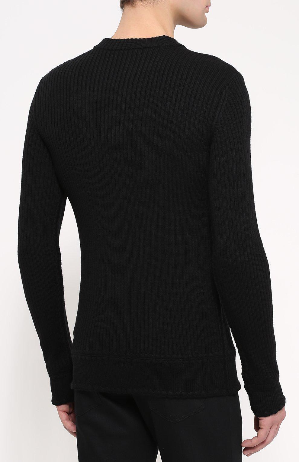 Шерстяной свитер фактурной вязки с аппликациями Dolce & Gabbana черный | Фото №4
