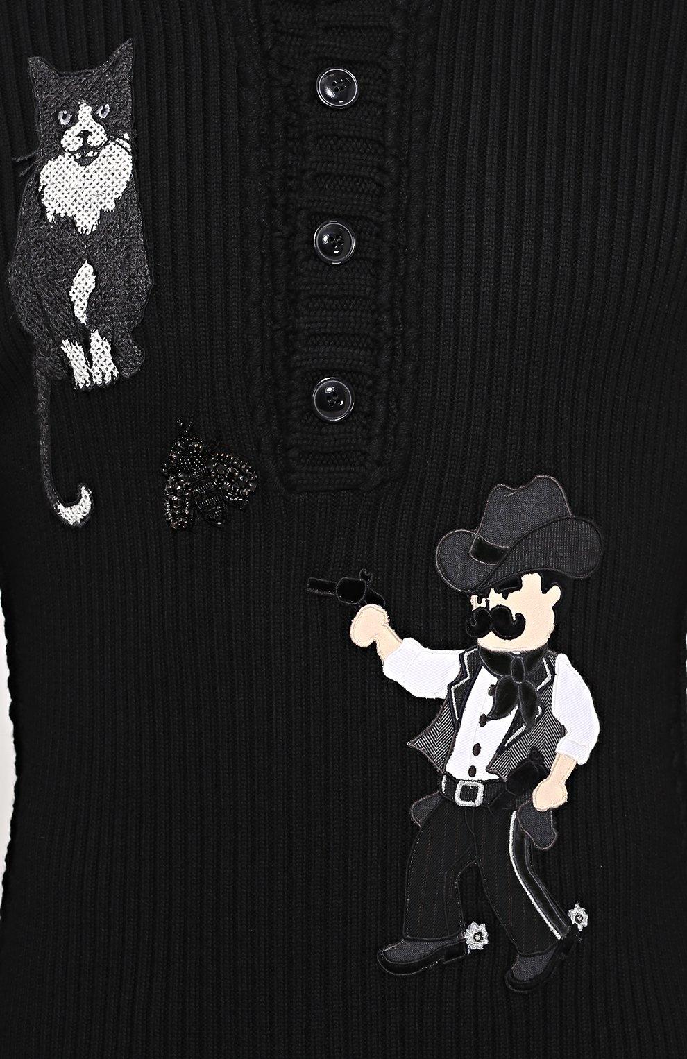 Шерстяной свитер фактурной вязки с аппликациями Dolce & Gabbana черный | Фото №5