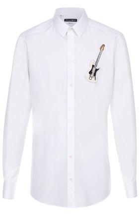 Хлопковая рубашка с вышивкой Dolce & Gabbana белая | Фото №1