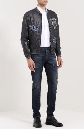 Хлопковая рубашка с вышивкой Dolce & Gabbana белая | Фото №2