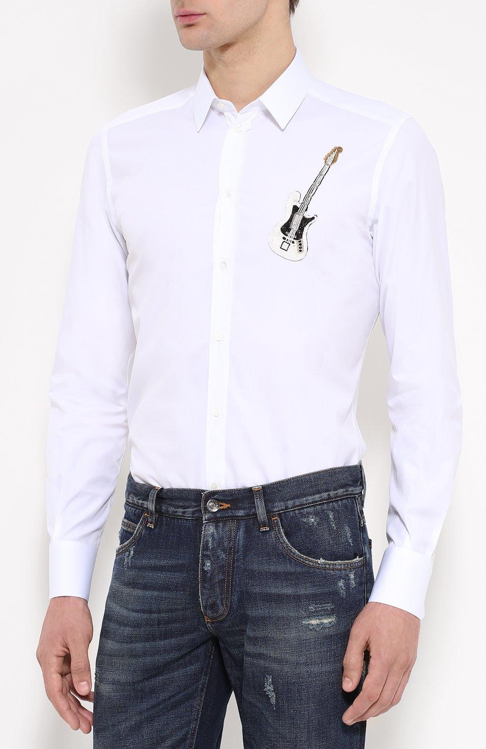 Хлопковая рубашка с вышивкой Dolce & Gabbana белая | Фото №3