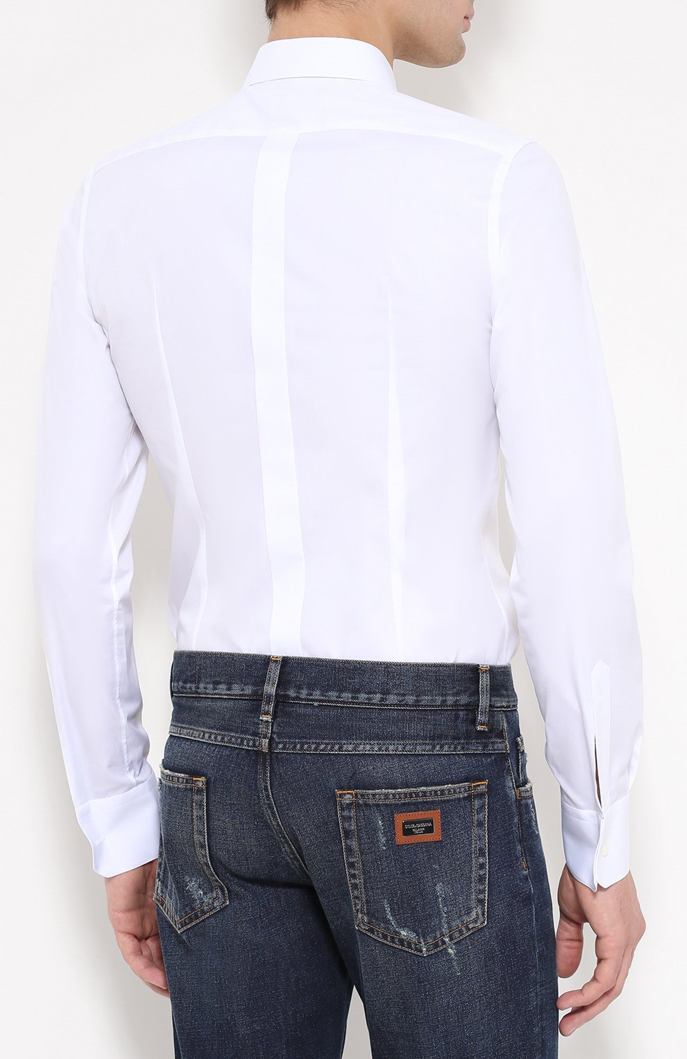 Хлопковая рубашка с вышивкой Dolce & Gabbana белая | Фото №4