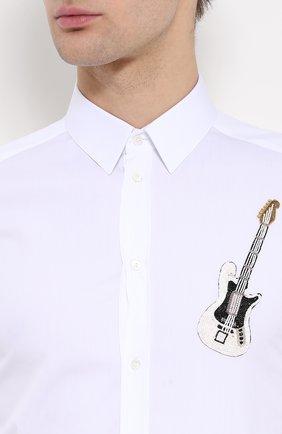 Хлопковая рубашка с вышивкой Dolce & Gabbana белая | Фото №5