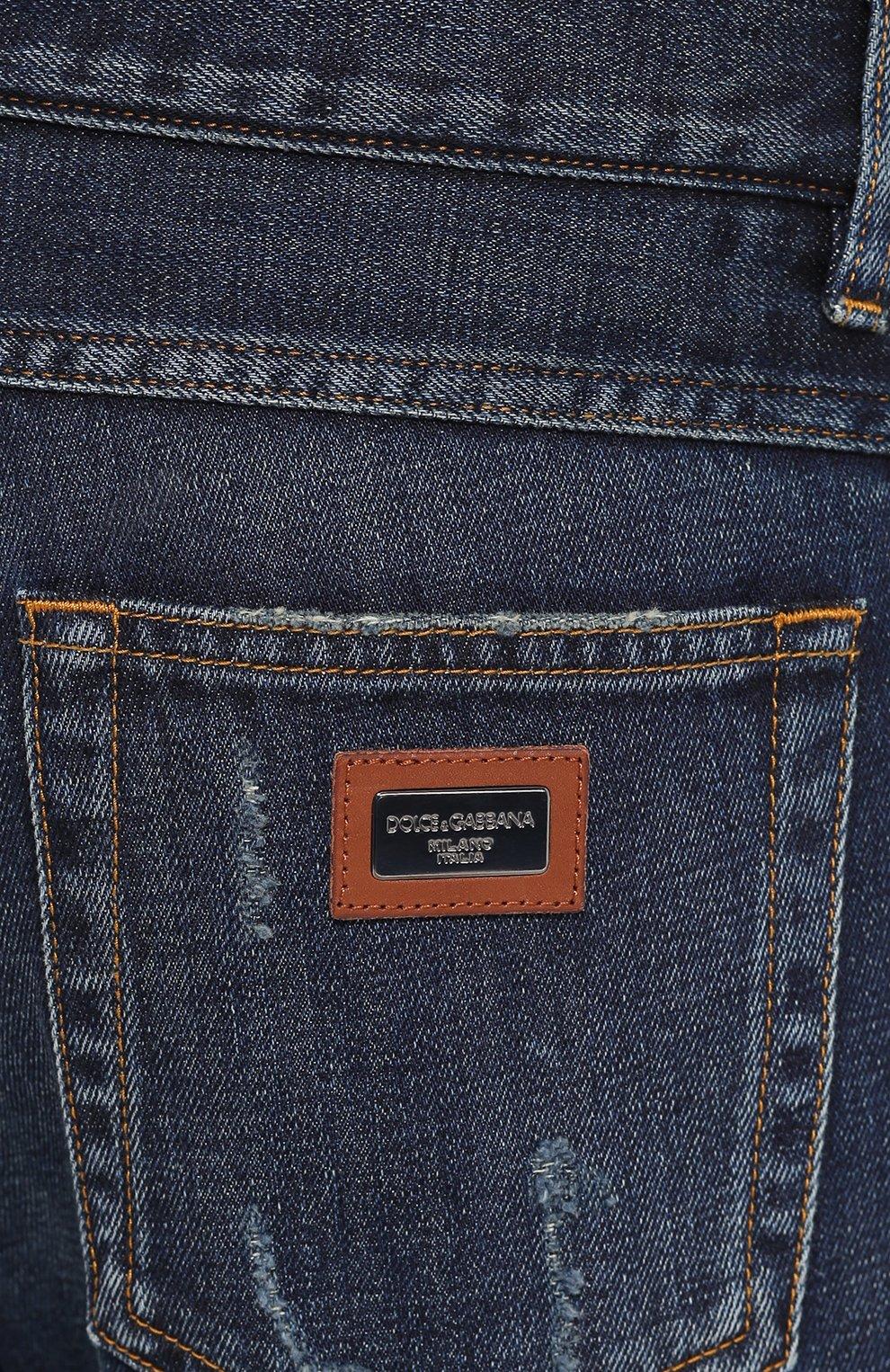 Джинсы прямого кроя с потертостями Dolce & Gabbana синие | Фото №5