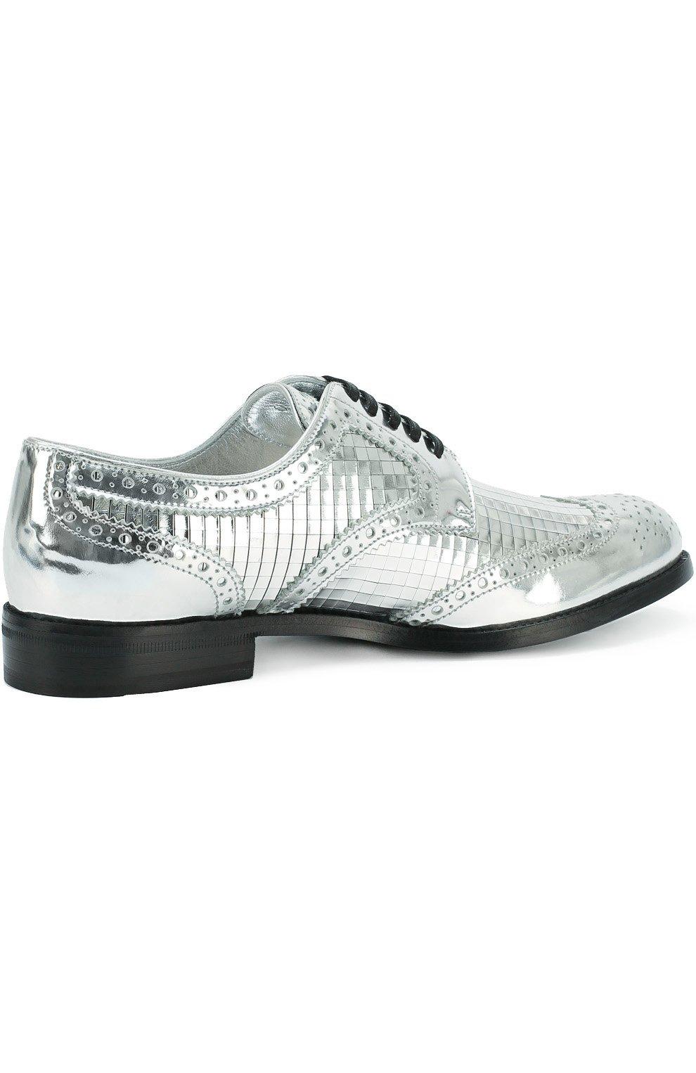 Дерби Boy Donna из металлизированной кожи Dolce & Gabbana серебряные | Фото №4