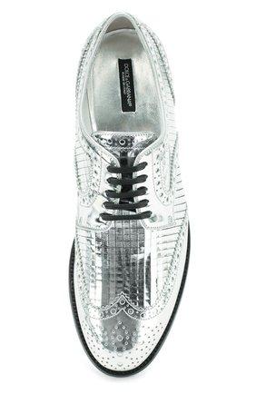 Дерби Boy Donna из металлизированной кожи Dolce & Gabbana серебряные | Фото №5