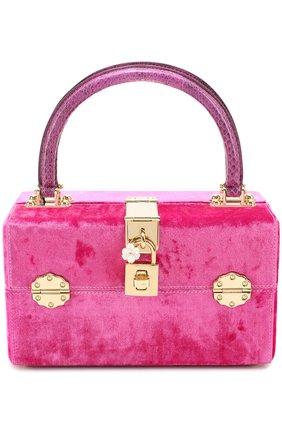 Сумка Dolce Box с отделкой бархатом Dolce & Gabbana фуксия цвета | Фото №1