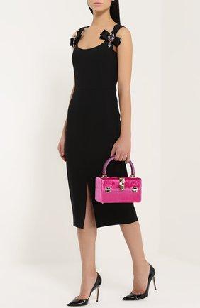 Сумка Dolce Box с отделкой бархатом Dolce & Gabbana фуксия цвета | Фото №2