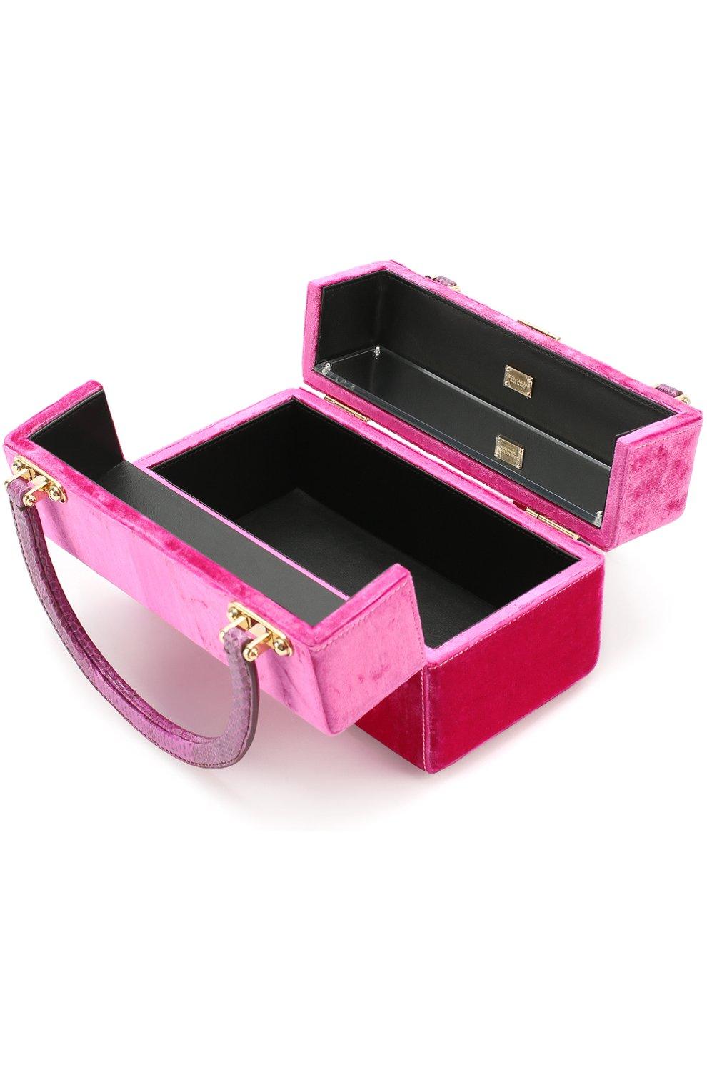 Сумка Dolce Box с отделкой бархатом Dolce & Gabbana фуксия цвета | Фото №4